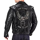 Viking Cycle American Eagle Leather Motorcycle Jacket for Men (M)