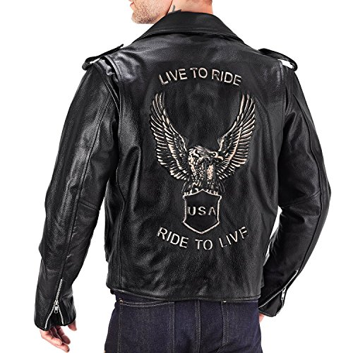 Viking Cycle American Eagle Leather Motorcycle Jacket for Men (XL)