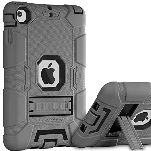 BENTOBEN iPad Mini Case,iPad Mini 2 Case,iPad Mini 3 Case, 3 in 1 Heavy Duty Shockproof Anti-Slip Hybrid Soft Rubber Cover Hard PC Bumper Rugged Protective Case for Apple iPad Mini 1 2 3, Black/Gray