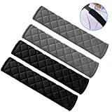 SENHAI 4 Pcs Seat Belt Pads, Plaid Cotton Soft and Comfortable Seatbelt Shoulder Strap Cover for Kids Adults - 2 Black and 2 Gray
