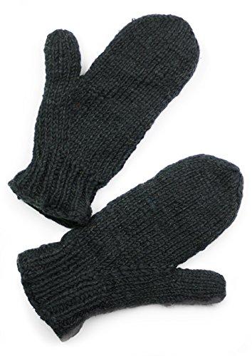 Hand Knit Mittens (TCG Women's Hand Knit Wool Mittens - Black)