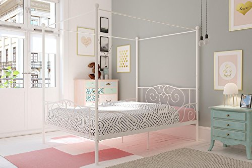 (DHP Canopy Metal Bed with Sturdy Bed Frame, White, Full)