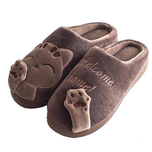 Pantofole Slittata 3 Cotone eu38 Morbido Lovers 41 Al Cotone Di Eu Mantieni Uomini Caldo Fondo Zhang2 Inverno Bello donna Coperto Felpa HwfEEP