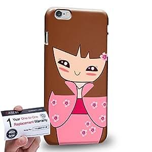 "Case88 [Apple iPhone 6 / 6s Plus (5.5"")] 3D impresa Carcasa/Funda dura para & Tarjeta de garantía - Art Drawing Brown Japanese Kimono Girl"