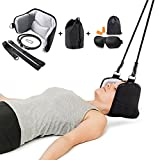 Neck Hammock Stretcher Cervical Traction Stress Relaxation Adjustable Device for Chronic Spine Neck and Shoulder Pain Relief, with 3D Sleep Eye Mask & Noise Resistant Earplugs