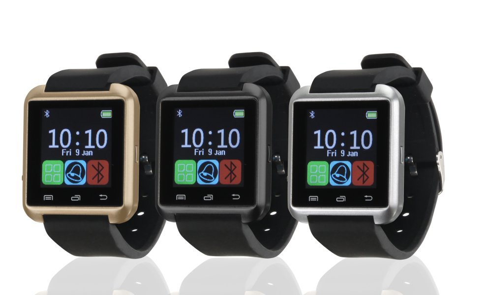 Bas - Tek Montre bracelet connectée Bluetooth avec écran tactile, compatible avec iPhone et Android, SMS, alarme, appareil photo, Noir: Amazon.fr: High-tech