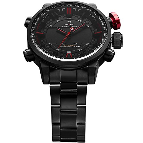 VOEONS Men's Black Stainless Steel Classic Watch Waterproof Wrist Watches for Men by VOEONS (Image #4)