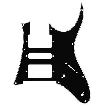 IKN 1 Piezas 3Ply HSH 7V Shedding 9 agujeros Pickguard para Ibanez RG piezas de guitarra con tornillos, Negro/Blanco / Negro