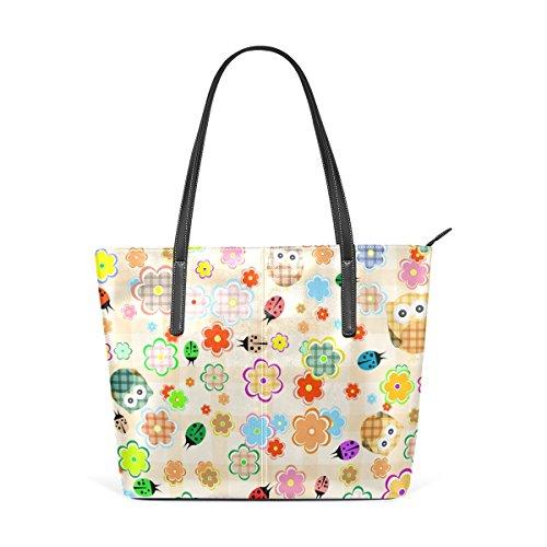 Women's Leather Fashion Flower And Shoulder Purses Handbag PU Owl Handle Top Totes TIZORAX Bags gwtSBqg