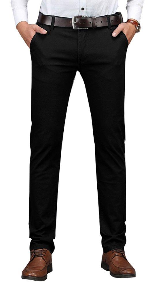 Plaid&Plain Men's Business Casual Pants Men's Slim Fit Flat Front Pants 8801Black 28