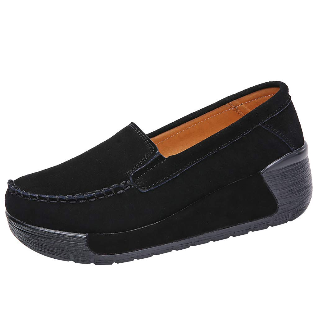 Women's Casual Round Toe Shoes Comfort Wedge Platform Loafers Thick Bottom Shake Beach Flat Shoes Size 5-8.5 (Black, US:6)