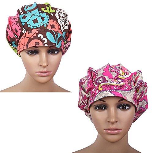 (Doctor Classic Scrub Hat Adjustable Sweatband Bouffant Cap for Women Ponytail(Print 2+Print)