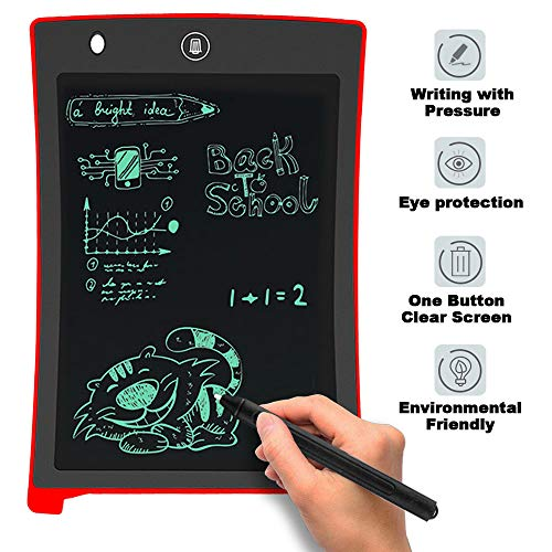 LCD Writing Pad,Electronic Writing & Drawing Board Doodle Board,Da by 8.5 inch Writing Tablet Drawing Tablet Gift for Kids,Elder Message Board,Family Memo and Office(red)