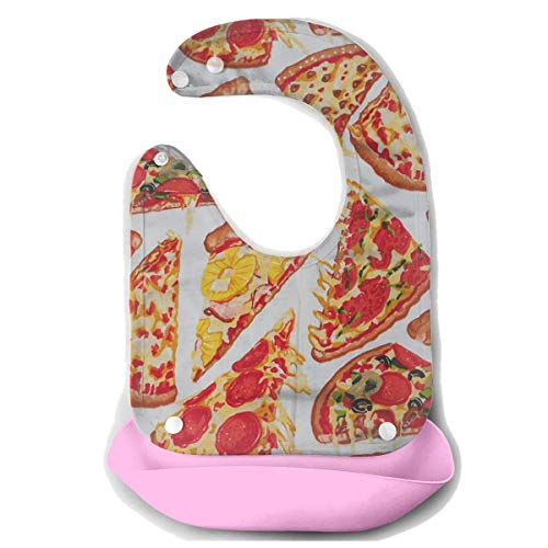 Waterproof Baby Super Bib Feeding Roll-up Bibs Pizza Food Meat Silicone Bib For Babies&Toddlers