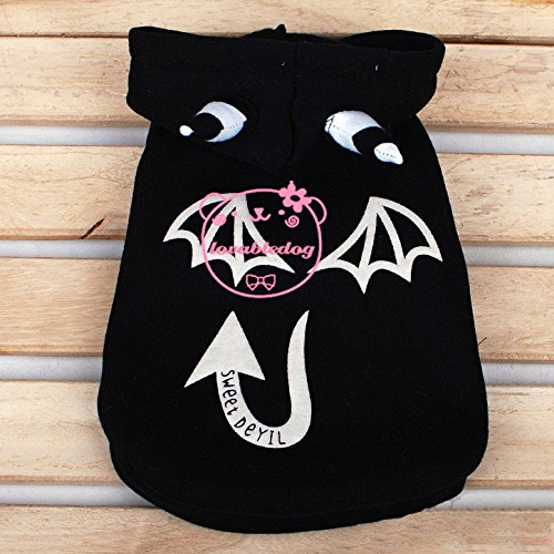 SMALLLEE_LUCKY_STORE?Pet Cat Dog Sweet Devil Hooded Coat Jacket Small Dog Clothes Costumes Black L