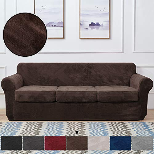 RHF Velvet Couch Cover 4 Piece Sofa Cover Sofa Slipcover-Couch Covers for 3 Cushion Couch,3 Separate Cushion Cover, Sofa Covers for 3 Cushion Couch,Couch Covers for Dogs(Sofa,Chocolate)