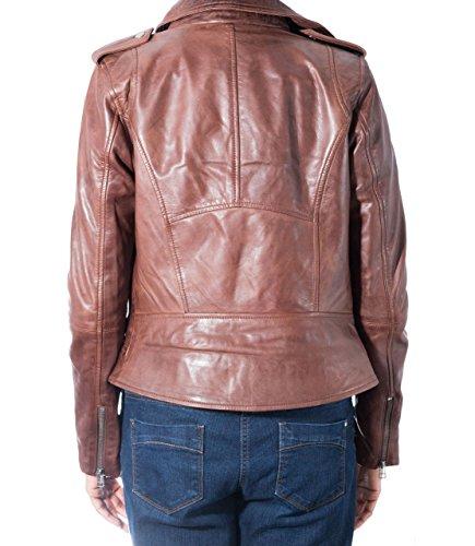 Da donna marrone Brando elegante corto motociclista reale Giacca in pelle con zip laterale