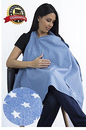 Manta para amamantar a tu bebé, el mandil cubre lactancia ideal para dar pecho,delantal con 100% algodón respirable, cuello rígido, estampado con estrellas IDEAL PARA REGALO DE DIA DE LAS MADRES Y BABY SHOWER