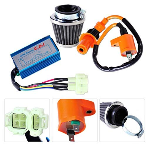 (Motorcycle Racing Performance Ignition Coil +CDI Box + Air Filter Kit for GY6 50cc 150cc Moped Go Kart Dirt bike)