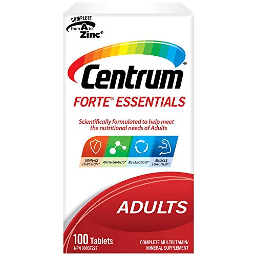 Centrum Forte Essentials, Complete Multivitamin & Mineral Supplement, Adults, 100 Tablets