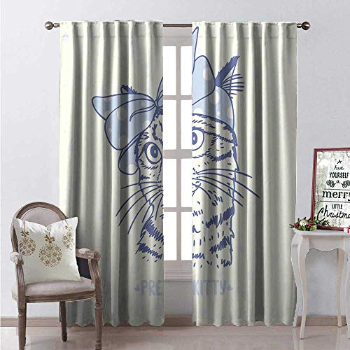 Hengshu Bow Window Curtain Fabric Silhouette of Cute Kitten Wearing Polka Dotted Wrap Hair Band Drapes for Living Room W84 x L96 Ba Blue Charcoal Grey and Ivory