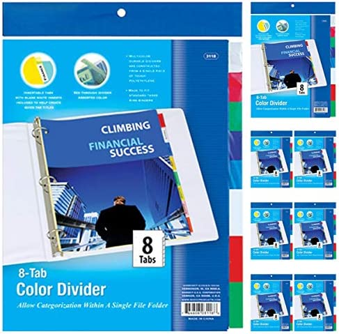 Kicko リングバインダー ディバイダー付き 6個パック クリアファイルバインダー 8つの挿入可能なカラータブ付き 学校やオフィス用品 書類やレターオーガナイザー アートやクラフトに最適