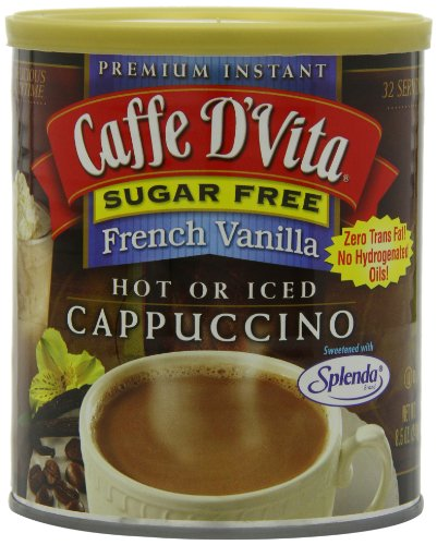 Caffe D'Vita Sugar Free French Vanilla Cappuccino Mix, 8.5-Ounce Canisters (Pack of 6)