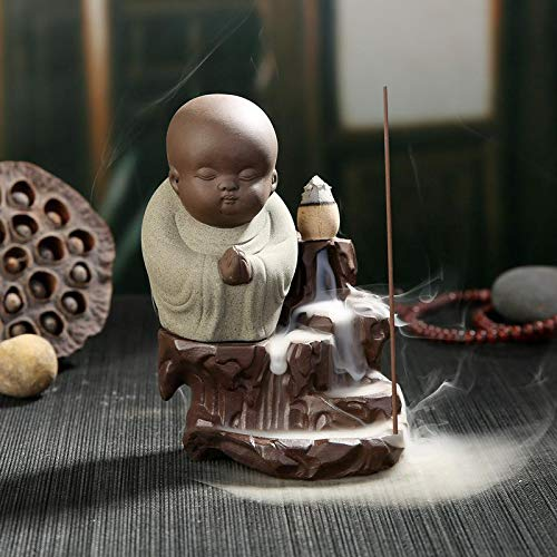 Autumn Water The Little Monk Censer Creative Home Decor Small Buddha Incense Holder Backflow Incense Burner Use in Home Office Teahouse by Autumn Water
