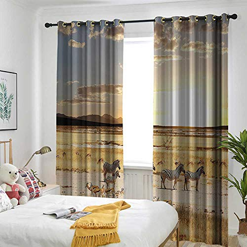 Safari Decor Collection Sliding Door Curtain Zebras with Their Striped Coats in Savannahs Sunset Adventure Africa Wild Safari Photo Grommet Curtains for Bedroom 72