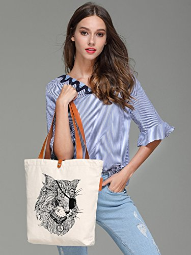 So'each Women's Pirate Cat Geometry Graphic Top Handle Canvas Tote Shoulder Bag