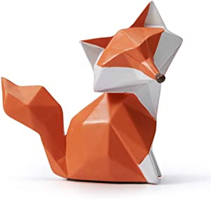 SEINHIJO Sculpture Statue Fox Figurine Geometric Animal Decor for Home Gifts Souvenirs Giftbox Resin 9.5cmH