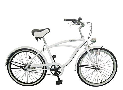 Lupinusルピナス 自転車 24インチ LP-24NBD ビーチクルーザー 極太タイヤ ワイドサドル 砲弾ライト 100%完成品 B079DPF7S7 マットホワイト マットホワイト