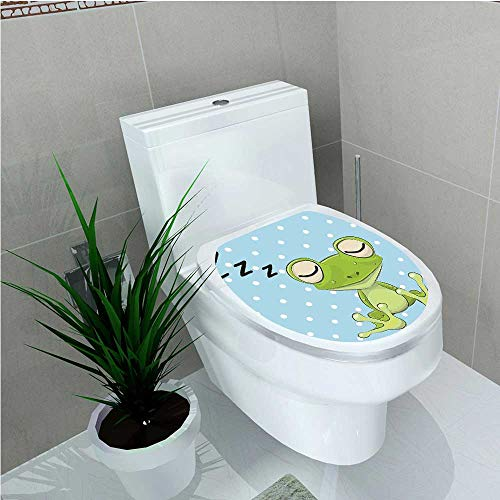 aolankaili Toilet Seat Wall Stickers Paper Sleeping Prince Frog in A Cap Polka Dots Background Cute Animal World Kids W13 x ()