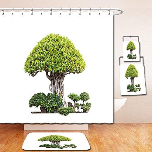 Beshowereb Bath Suit: Showercurtain Bathrug Bathtowel Handtowel bonsai trees isolated on white - My Inside Macy's