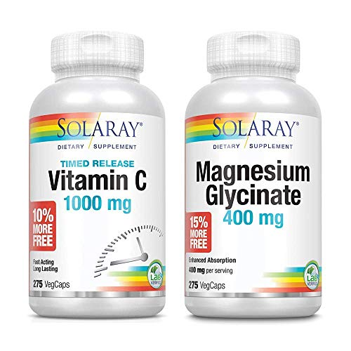 Solaray Vitamin C 1000 mg with Rose Hips & Acerola and Magnesium Glycinate 400 mg Bundle | 275 VegCaps Each