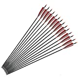 "ZSHJG 30"" Carbon Archery Arrow Spine 500 with 5"" Shield Real Feathers Replaced Arrowhead/Tip 12PCS"