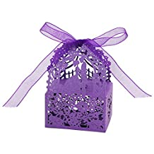 MagiDeal Pack of 50 Love Heart Favor Ribbon Gift Candy Boxes Wedding Party Decor 3 Colors - Purple, 6x 4.5x 3.5cm