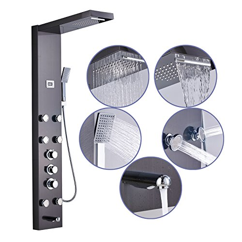 Senlesen Rainfall Waterfall 2 Setting Wall Mount Bathroom Massage Multi-Function Shower Panel Tower System,Oil Rubbed Bronze - Oil Rubbed Bronze Tower