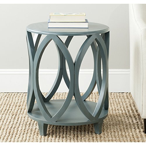 Living Room Round Console Table - Safavieh American Homes Collection Janika Steel Teal Accent Table