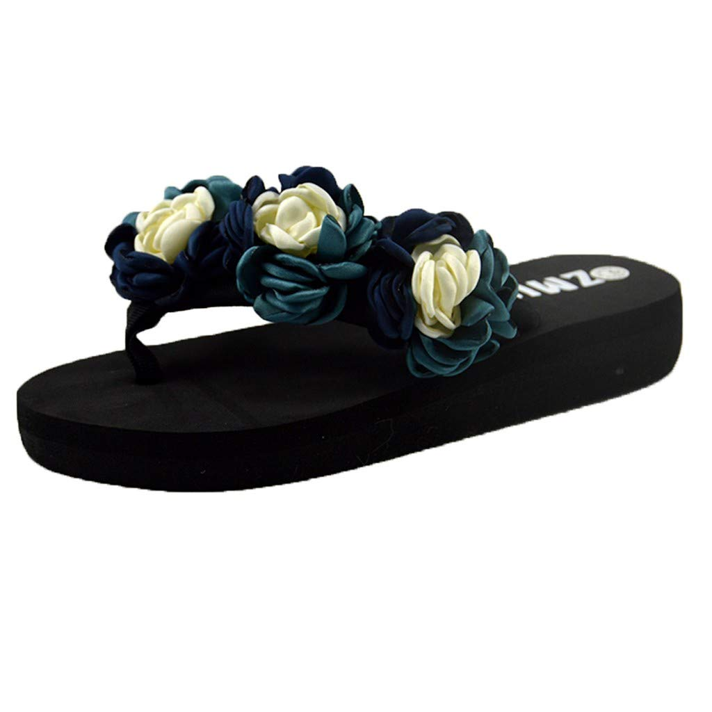 YEZIJIN Hot Sale! Women Muffin Flat Bottom Slippers Sandals Home Bathroom Beach Flip Flops Shoes Slipper Heels Platform Flats Shoes for Women Ladies Girl Indoor Outdoor Clearance 2019 Best