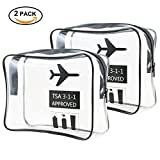 Clear Toiletry Bag for Travel, TPU Material, TSA Approved Toiletry/Cosmetic Bag Pouch, Matte Clear Travel Organizer, Airport Carry-On, Water-proof, Dust-proof, No crease, Be Wash for Women Men (2pc ma