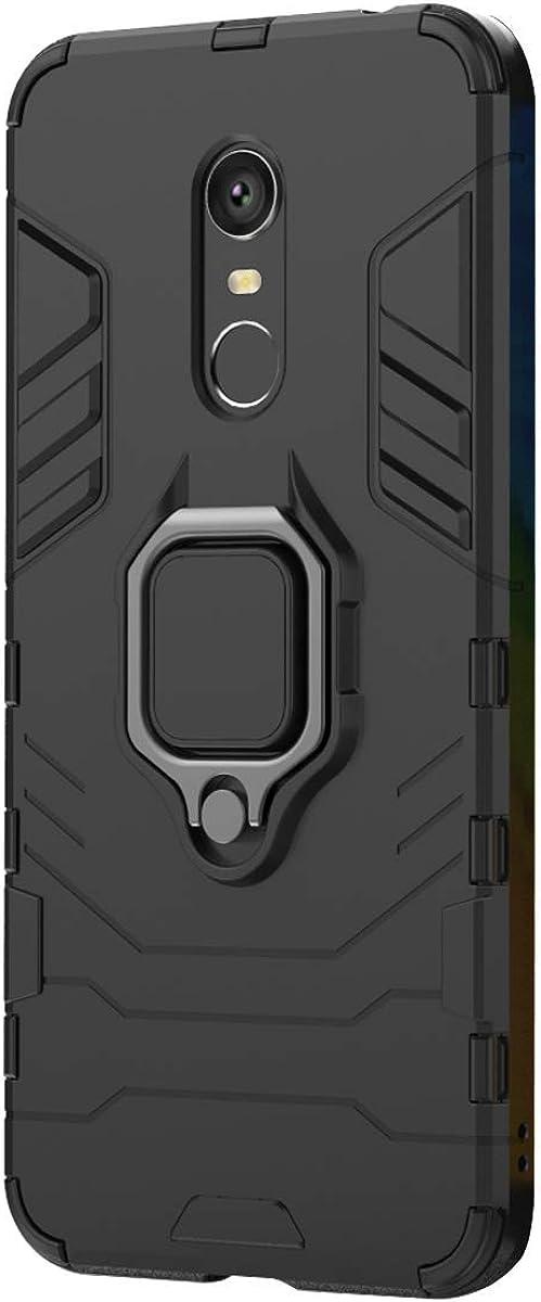 Funda Xiaomi Redmi 5 Plus Carcasa, Borde de Silicona Negro Duro PC Case Anti-Arañazos, Anti-Golpes, con Anillo Grip Kickstand para Xiaomi Redmi 5 Plus