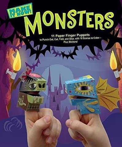 Monsters (Make It Now!): 11 Paper Finger Puppets to Punch Out, Cut, Fold, and Glue, with 10 Scenes to Color―plus Stickers! - 10 Glue