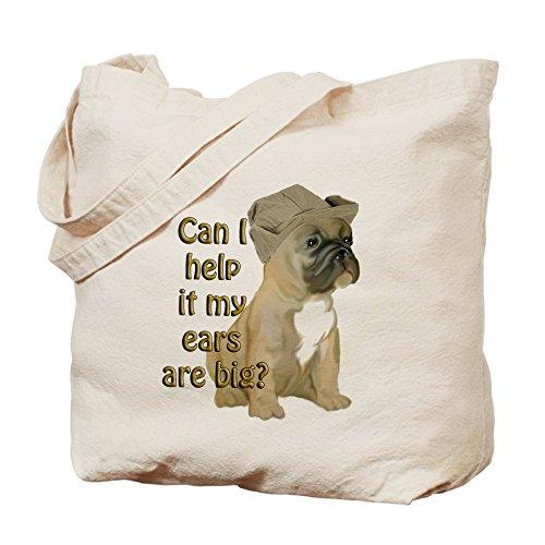 Cafepress–French Bulldog EARS Tote bag–Borsa di tela naturale, tessuto in iuta