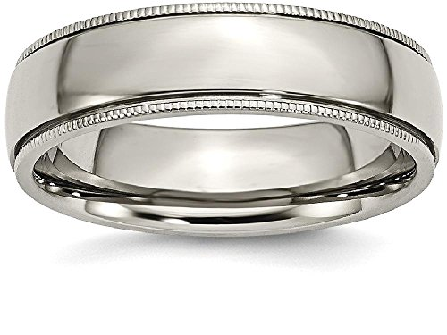 Beaded Edge Wedding Band Ring (ICE CARATS Titanium Grooved Beaded Edge 6mm Wedding Ring Band Size 8.50 Classic Milgrain)