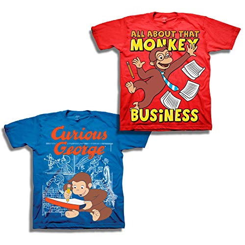 - Boys Curious George Shirt Set - 2 Pack Curious George Tees (Red/Charcoal, 5T)