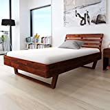 Festnight Wood Queen Platform Bed Frame Solid Acacia Wood Queen Size