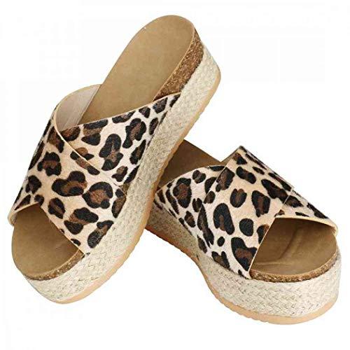 (Womens Platform Espadrilles Sandals Slide-on Open Toe Faux Leather Studded Summer Slippers Flatform Sandals (Leopard Pattern,6.5 M US=EU 37))