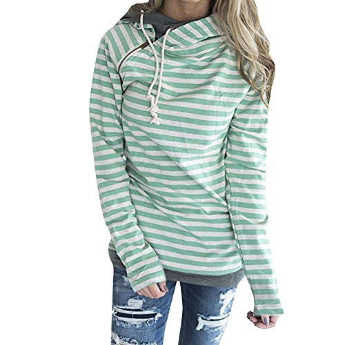 Clearance Sale! Caopixx Sweatshirts for Women Autumn Winter Striped Hoodie Sweater with Pocket