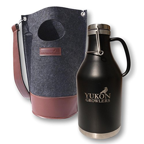 (Yukon Growlers Premium Insulated Stainless Steel Growler with Felt Case - Keep Your Beer Cold and Carbonated for 24 Hours - Double-Walled Vacuum Growler with Swing-Top Lid and Handle for Easy Pouring)